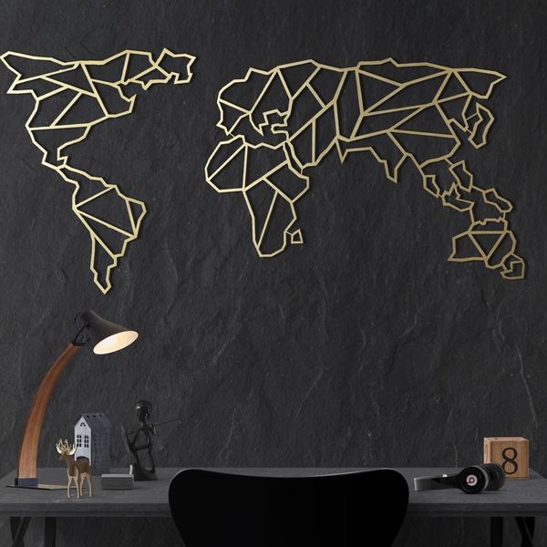 World Map - Gold Gold Decorative Metal Wall Accessory