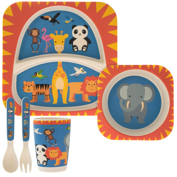 5 Piece Kiddies Bamboo Eating Set Zoo Design by Lesser & Pavey