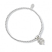 Crystal Clover Charm with Sterling Silver Ball Bead Bracelet
