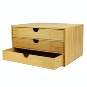 Bamboo Desktop 3 Drawer Organiser| M&W Wide Opening