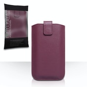 Caseflex Leather-Effect Auto Return Pull Tab Pouch (M) - Purple