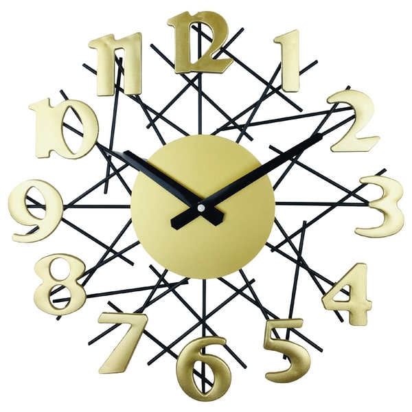 Golden Metal Geometry Design Wall Clock 38cm