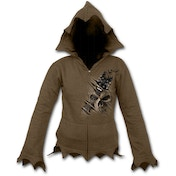 Night Riffs Women's Medium Zig Zag Hem Full Zip Hoodie - Chocolate Brown