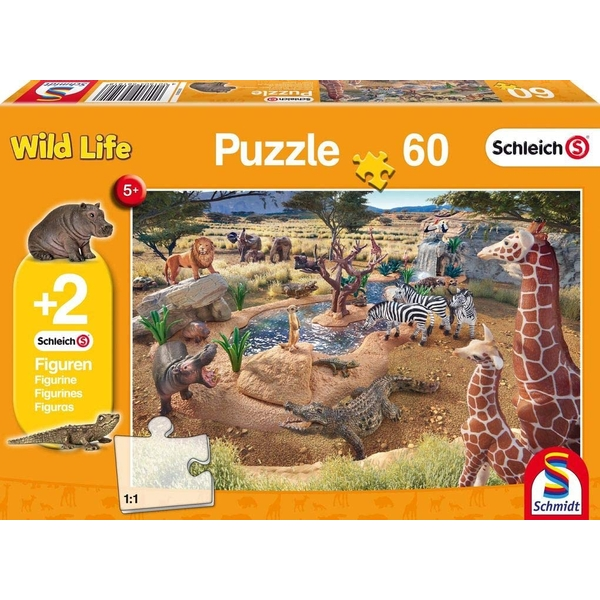 Schleich: At the Watering Hole 60 Piece Jigsaw Puzzle With Two Figures