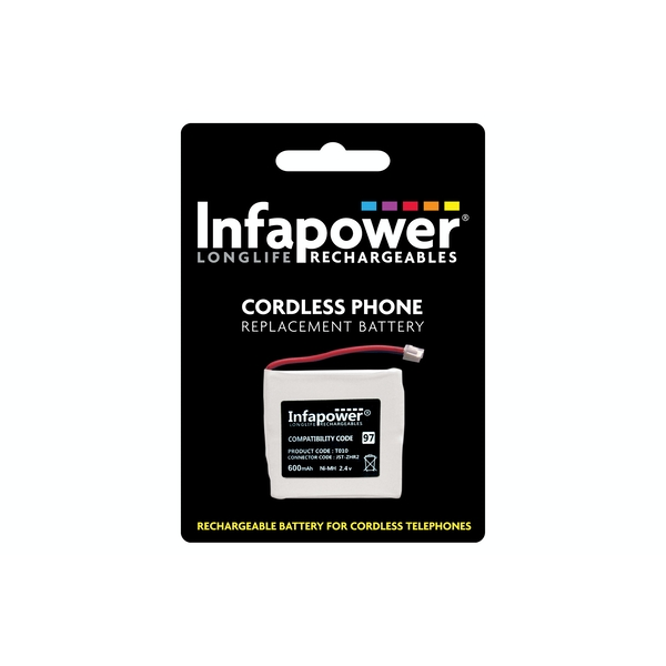 Infapower Rechargeable Ni-MH Battery for Cordless Telephones 2 x Prismatic Cell 2.4v 600mAh