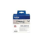 Brother DK-22212 Label Roll, Continuous Length Film, Black on White, Single Label Roll, 62mm (W) x 15.24M (L), Brother Genuine Supplies