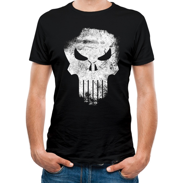 Marvel Knights - Punisher Distressed Skull Unisex X-Large T-shirt - Black