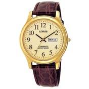 Lorus RXF48AX9 Mens Gold Plated Lumibrite Watch with Brown Leather Strap