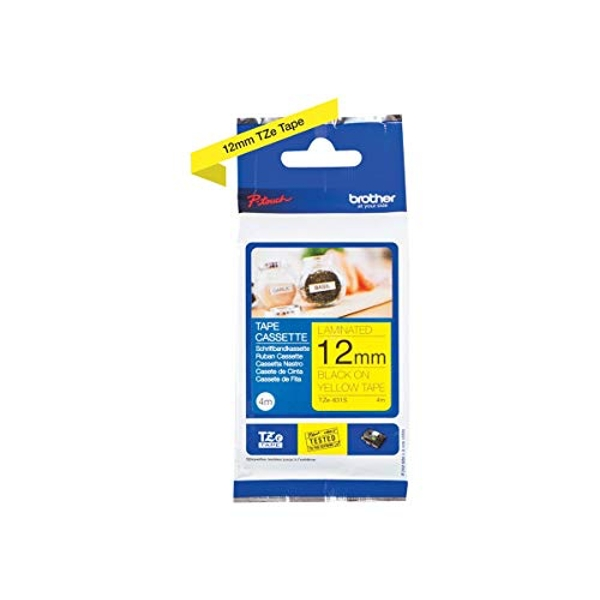Brother TZe-631S Labelling Tape Cassette, Black on Yellow, 12 mm (W) x 4 m (L), Laminated, Brother Genuine Supplies