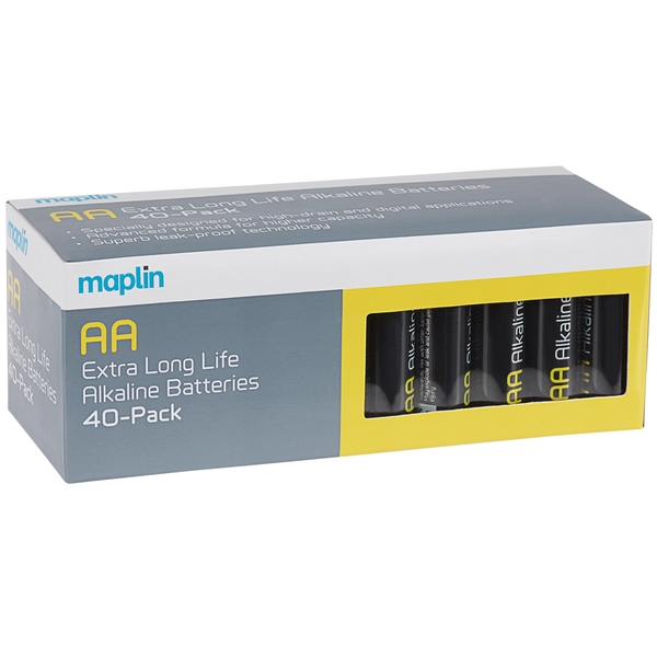Maplin Extra Long Life High Performance Alkaline AA 1.5V Batteries Box of 40