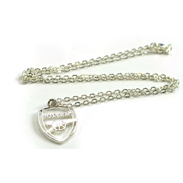 Arsenal Silver Plated Crest Pendant and Chain
