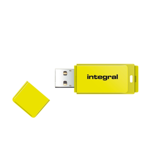 Integral 64GB USB2.0 Memory Flash Drive (Memory Stick) Neon Yellow