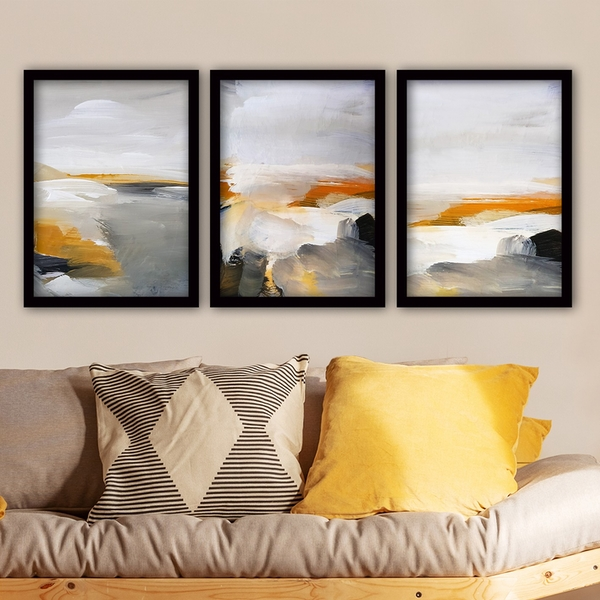 3SC62 Multicolor Decorative Framed Painting (3 Pieces)