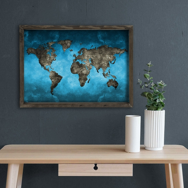 Map057 Multicolor Decorative Framed MDF Painting