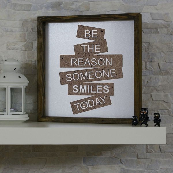 KZM031 Brown White Decorative Framed MDF Painting