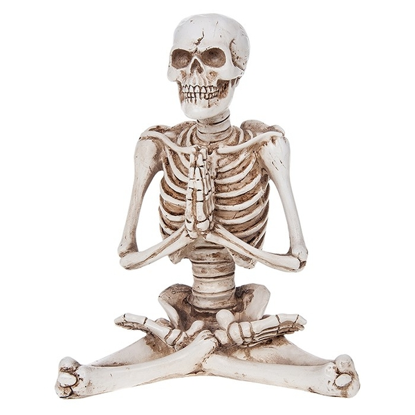 Funny Bone Skeleton Sit Pray Large Ornament