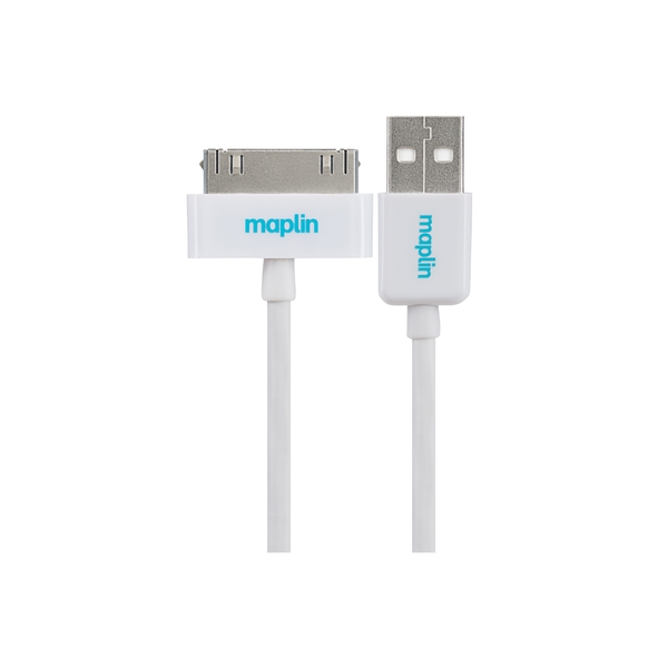 Maplin Premium 30 Pin for Apple to USB A Male Cable White 1.5m