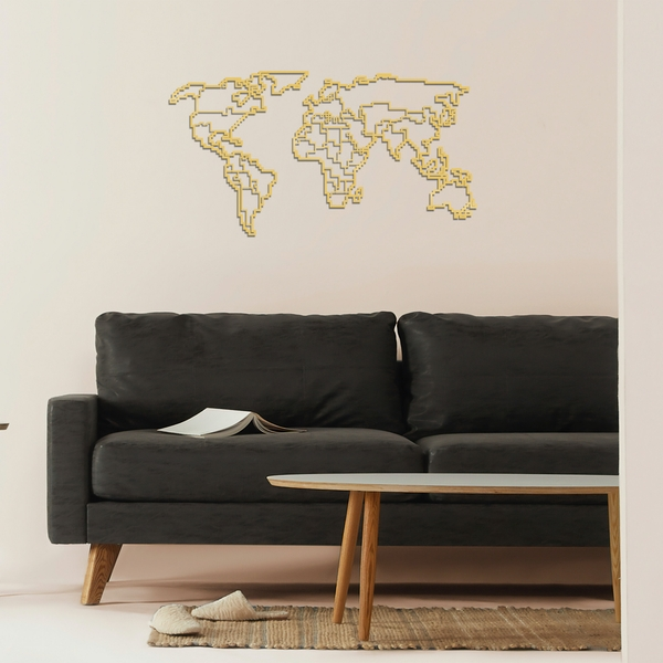 World Map Metal Decor 6 - Gold Gold Decorative Metal Wall Accessory