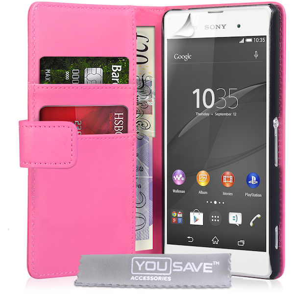 YouSave Accessories Sony Xperia Z3  Leather-Effect Wallet Case - Hot Pink