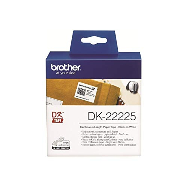 Brother DK-22225 Label Roll, Continuous Length Paper, Black on White, Single Label Roll, 38mm (W) x 30.48M (L), Brother Genuine Supplies