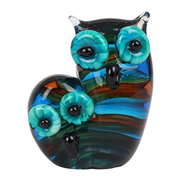 Objets d'Art Glass Figurine - Mother & Baby Owl