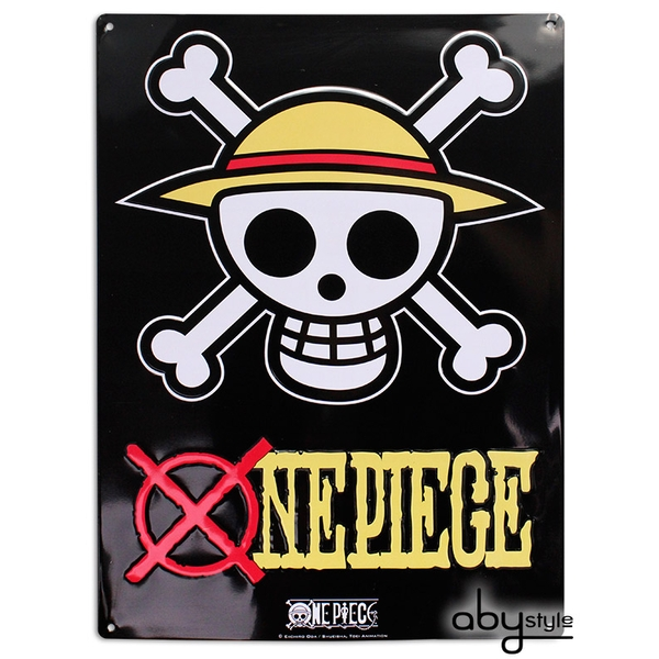 One Piece - Skull - Luffy (28 x 38cm) With Hook Metal Plate