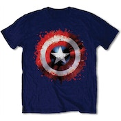 Marvel Comics - Captain America Splat Shield Men's Medium T-Shirt - Blue