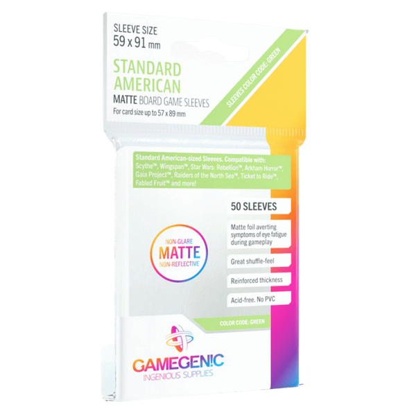 Gamegenic MATTE Standard American Sized Boardgame 59 x 91 mm (50 Sleeves)