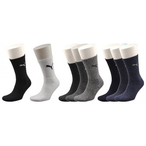 Puma Crew Socks UK Size 6-8 Brown Mix Pack of 3