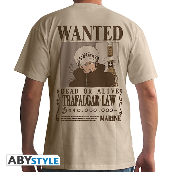 One Piece - Wanted Trafalgar Law Men's Small T-Shirt - Beige