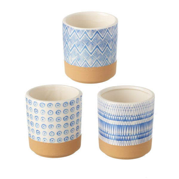 Ceramic Patterned Planters Set of 3 By Heaven Sends