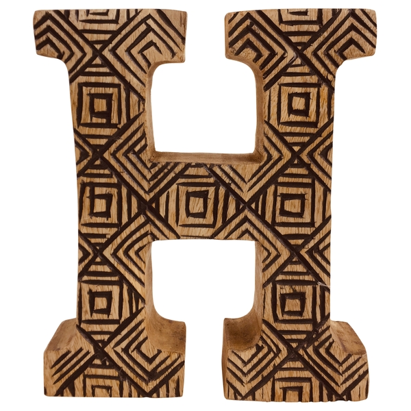 Letter H Hand Carved Wooden Geometric