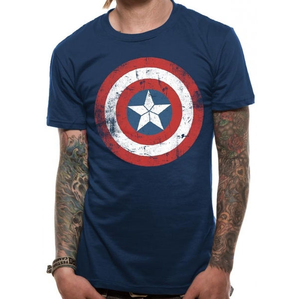 Captain America Civil War Distressed Shield Large T-Shirt