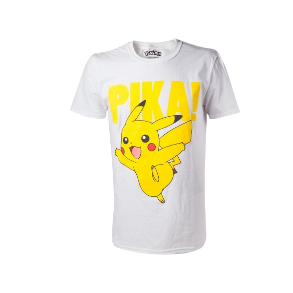 Pokemon Pikachu Pika! Raised Print Mens Large White T-Shirt