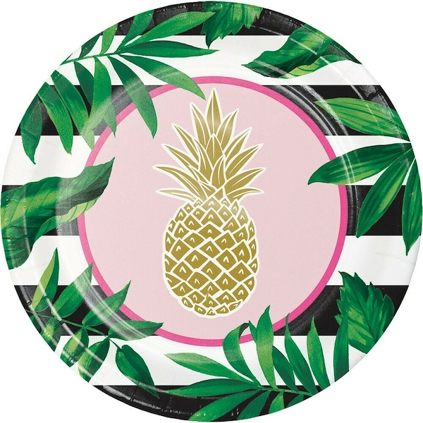 Golden Pineapple Paper Plates