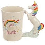 Fun Unicorn Slogan Shaped Handle Ceramic Mug