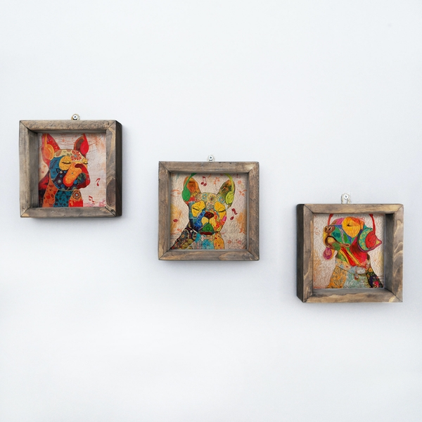 UKZM010 Multicolor Decorative Framed MDF Painting (3 Pieces)