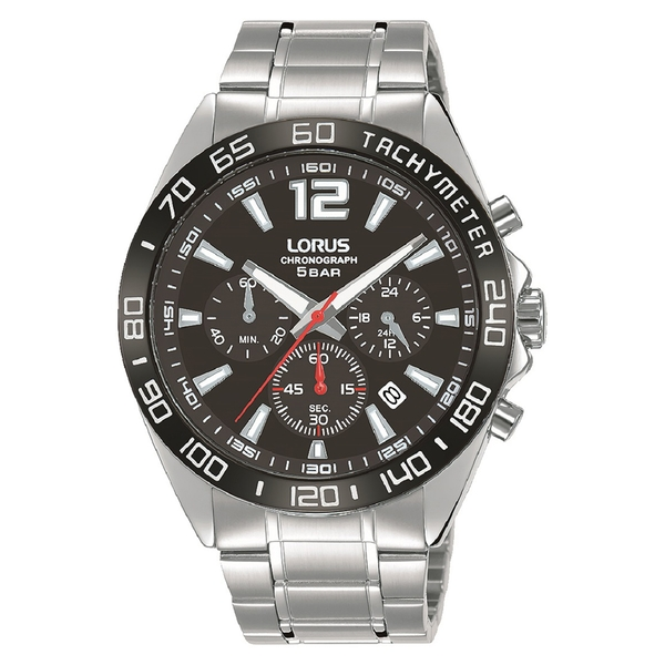 Lorus RT335JX9 Mens Chronograph Watch with Sunray Black Dial