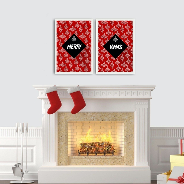 2PBCTNOEL-08 Multicolor Decorative Framed MDF Painting (2 Pieces)