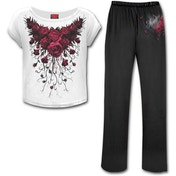 Blood Rose Women's Small 4-Piece Gothic Pyjama Set - White/Black