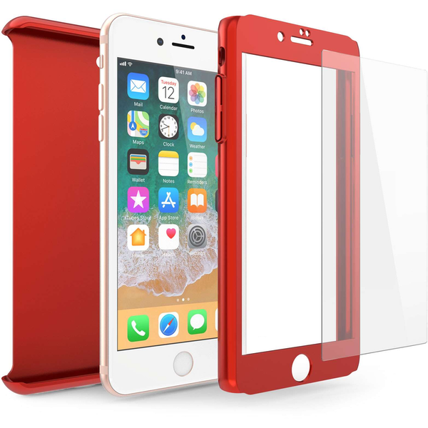 Compare prices with Phone Retailers Comaprison to buy a Apple iPhone 8 PC Hybrid 360 Case with Tempered Glass Screen Protector - Red