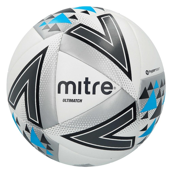 Mitre Ultimatch Match Ball White/Silver/Blue - Size 4