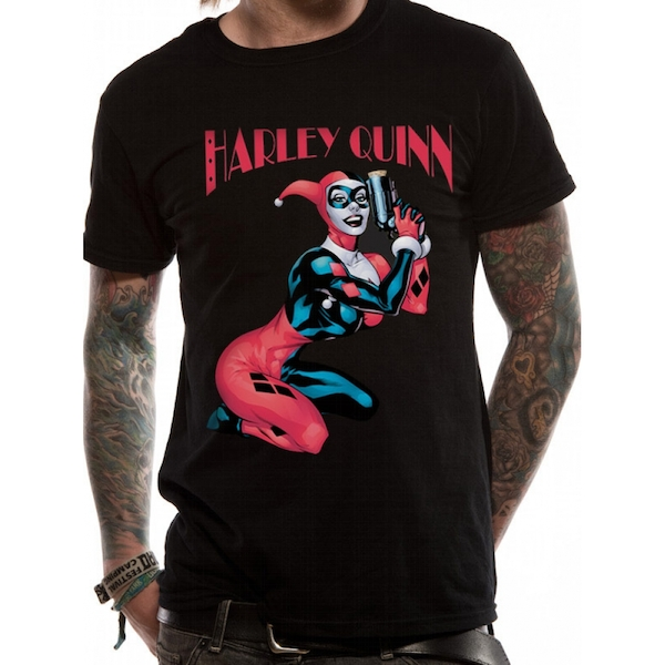 Batman - Harley Quinn Gun Men's Large T-Shirt - Black