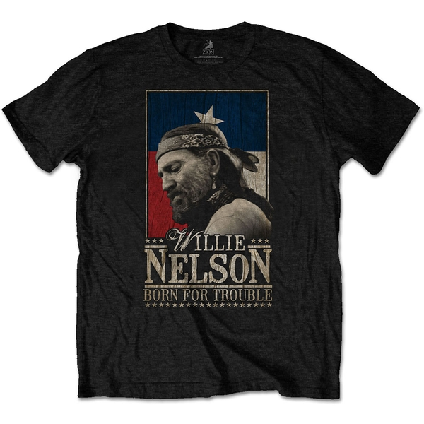 Willie Nelson - Born For Trouble Men's Small T-Shirt - Black