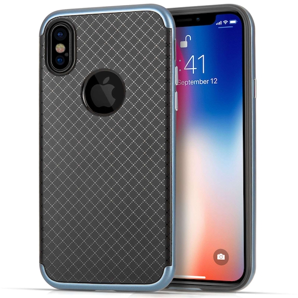 Apple iPhone X Crosshatch Gel Case - Blue