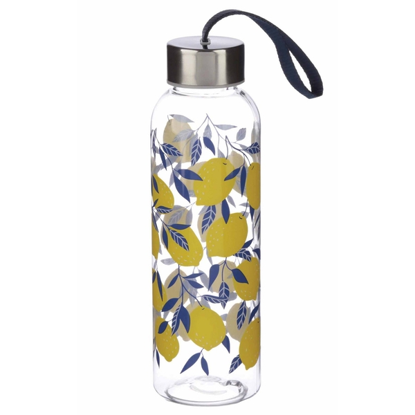 Amalfi Lemon 500ml Reusable Plastic Water Bottle with Metallic Lid