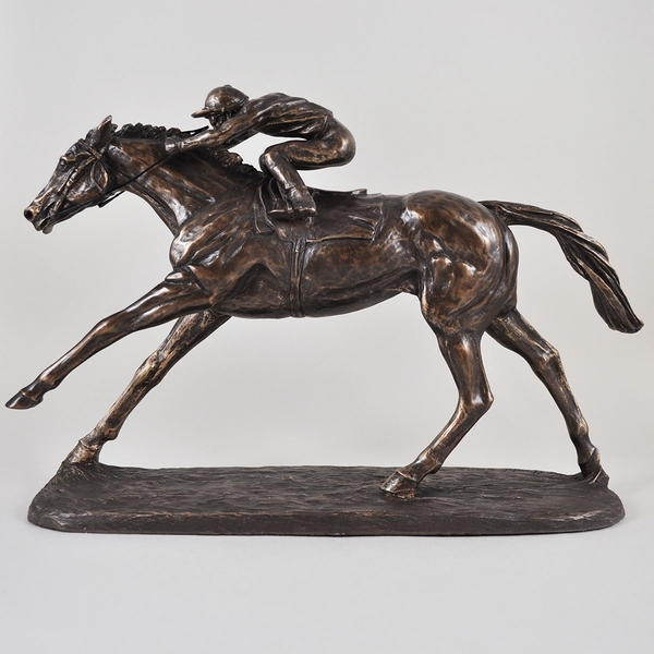 Horse Racing On The Flat by Harriet Glen Cold Cast Bronze Sculpture 22cm