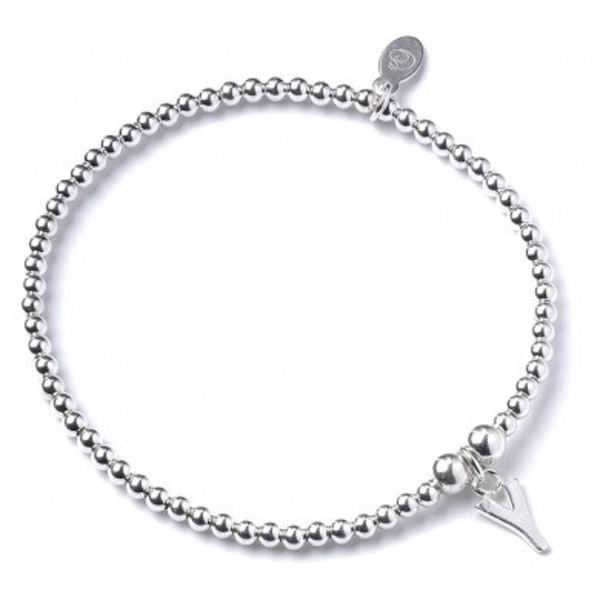 Initial Y Charm with Sterling Silver Ball Bead Bracelet