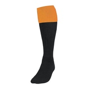Precision Black/Amber Turnover Football Socks UK Size Junior 12-2