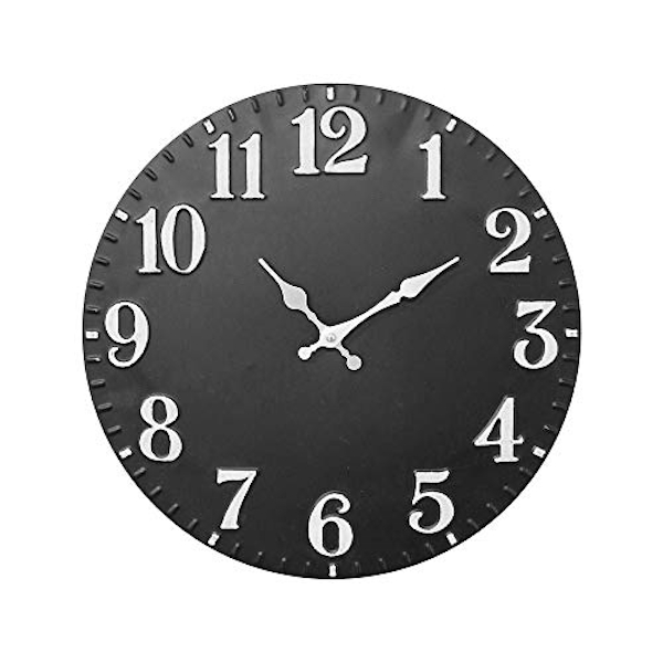 Home Black Metal Wall Clock Silver Hands 40cm